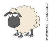 dull sheep in shoes  standing...   Shutterstock .eps vector #1043283310