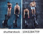 group of sporty muscular people ... | Shutterstock . vector #1043284759