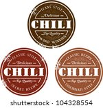 vintage style chili stamps | Shutterstock .eps vector #104328554
