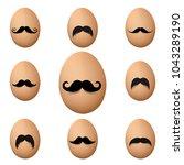 eggs with mustache big set... | Shutterstock .eps vector #1043289190