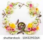 easter composition with spring... | Shutterstock . vector #1043290264