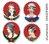 woman's faces traditional... | Shutterstock .eps vector #1043294890