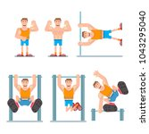 horizontal bar chin up | Shutterstock .eps vector #1043295040
