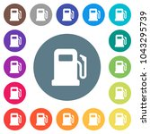 gas station flat white icons on ... | Shutterstock .eps vector #1043295739