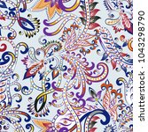 seamless pattern with ornate... | Shutterstock .eps vector #1043298790