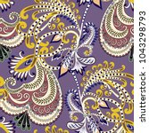 seamless pattern with  paisley  ... | Shutterstock .eps vector #1043298793