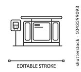 bus station linear icon. thin... | Shutterstock .eps vector #1043299093