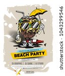 beach party brochure  flyer ... | Shutterstock .eps vector #1043299546