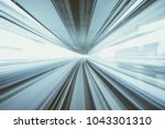 motion blur of train moving... | Shutterstock . vector #1043301310