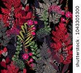 beauitful garden in the night... | Shutterstock .eps vector #1043305300
