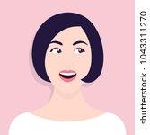 portrait of a curious woman.... | Shutterstock .eps vector #1043311270
