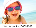 happy little girl at the... | Shutterstock . vector #104331308
