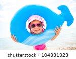 Little Girl In Swimsuit Playin...