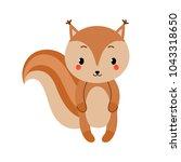 adorable squirrel in modern... | Shutterstock .eps vector #1043318650