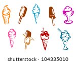 ice cream snacks set isolated... | Shutterstock . vector #104335010