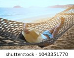 summer vacations concept  happy ... | Shutterstock . vector #1043351770