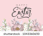 happy easter greeting card.... | Shutterstock .eps vector #1043360650