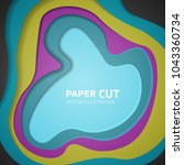 multi color paper layers 3d... | Shutterstock .eps vector #1043360734