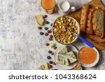 healthy breakfast  coffee with... | Shutterstock . vector #1043368624