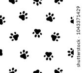 dog and cat paw seamless... | Shutterstock .eps vector #1043371429