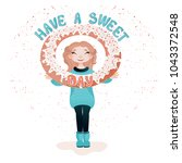 a girl with a huge donut and... | Shutterstock .eps vector #1043372548