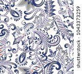 seamless pattern with ornate... | Shutterstock .eps vector #1043373259