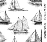 pattern of the sailings ships | Shutterstock .eps vector #1043375629