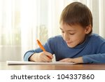 a boy paints on a white | Shutterstock . vector #104337860