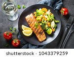 grilled salmon fillet with... | Shutterstock . vector #1043379259