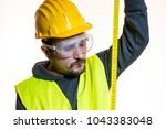 a man who wants to do a work... | Shutterstock . vector #1043383048
