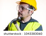 a man who wants to do a work... | Shutterstock . vector #1043383060