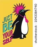 pop art poster with penguin... | Shutterstock .eps vector #1043384740