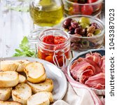 ingredients for making tapas or ... | Shutterstock . vector #1043387023