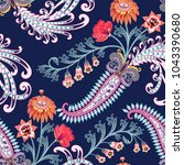 seamless  pattern with ornate... | Shutterstock .eps vector #1043390680