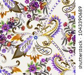 seamless  pattern with ornate... | Shutterstock .eps vector #1043390689