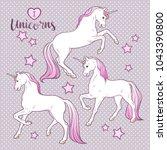 magic unicorns and stars set... | Shutterstock .eps vector #1043390800