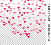 pink hearts confetti falling on ... | Shutterstock .eps vector #1043393860