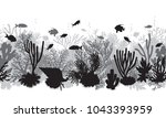 hand drawn underwater natural... | Shutterstock .eps vector #1043393959