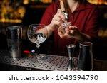 female barman preparing ice... | Shutterstock . vector #1043394790