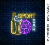 glowing neon sport bar concept...   Shutterstock .eps vector #1043406814