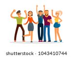happy group of students. young...   Shutterstock . vector #1043410744