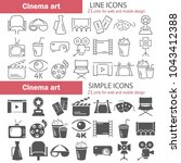 line and simple cinema icons set | Shutterstock .eps vector #1043412388