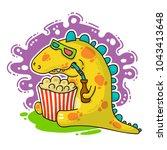 cool dino doodle vector... | Shutterstock .eps vector #1043413648