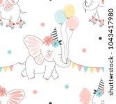 fairy elephant roller skating... | Shutterstock .eps vector #1043417980