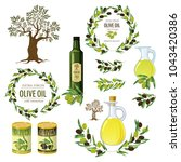 olive colored isolated icon set ... | Shutterstock .eps vector #1043420386