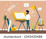 man architect drawing house... | Shutterstock .eps vector #1043420488