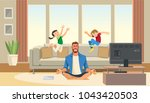 children play and jump on sofa... | Shutterstock .eps vector #1043420503