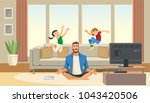 children play and jump on sofa... | Shutterstock .eps vector #1043420506