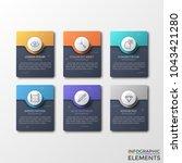 six separate black rectangular... | Shutterstock .eps vector #1043421280