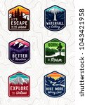 vector vintage travel patch set. | Shutterstock .eps vector #1043421958